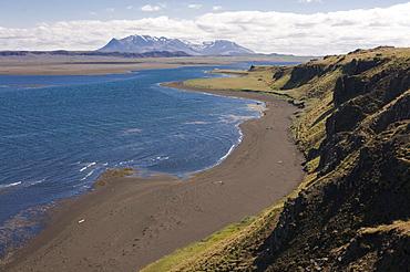Typical stone landscape and coast, Vatnsnes Peninsula, Iceland, Europe