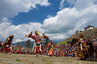 Religious festival with male visitors and dances, Paro Tsechu, Bhutan, Asia