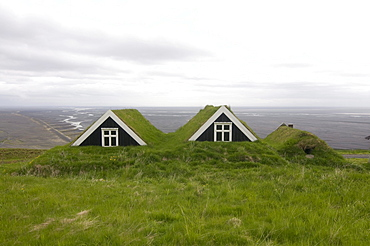 Typical wooden houses, thatched with grass, Skaftafell, Iceland, Europe