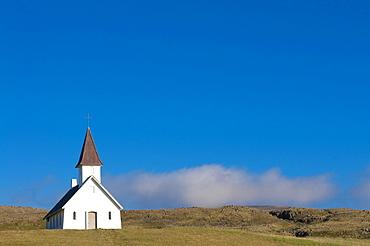 Small church, Breidavik, Westfjords, Iceland, Europe