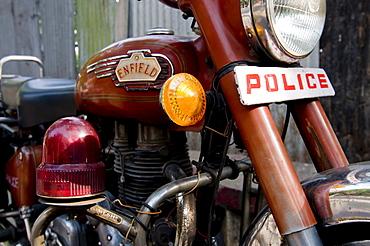 Police motorbike, Calcutta, India, Asia