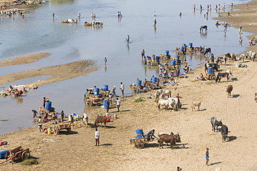 People fetching drinking water from the Mandrare river, Madagascar, Africa