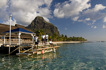 Local people at pier, Le Paradis Hotel, Mauritius, Africa