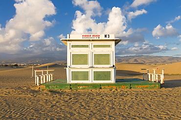A closed beach restaurant on the beach of Maspalomas, Gran Canaria, Canary Islands, Spain, Europe