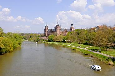Schloss Johannesburg Castle, Main river, Aschaffenburg, Bavaria, Germany, Europe