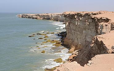 Sandstone cliffs of Cap Blanc, Nouadhibou, Mauretania, northwestern Africa