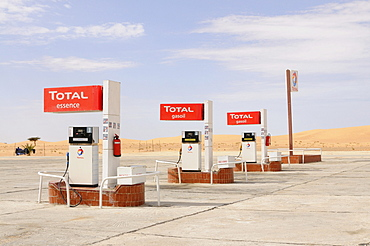 Total fuel station in the Sahara desert, between Nouadhibou and Nouakchott, Mauritania, northwestern Africa