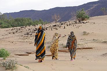 Veiled women with traditional dress walking near Atar, Mauritania, northwestern Africa