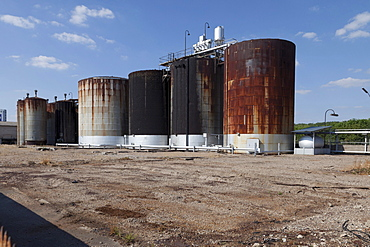 Chemical tanks, Worms, Rhineland-Palatinate, Germany, Europe