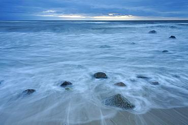 Blue hour on the west coast of Ruegen, Mecklenburg-Western Pomerania, Germany, Europe
