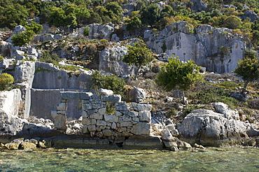 Ruins of a sunken city on Kekova island, Lycia, southern coast of Turkey, Western Asia