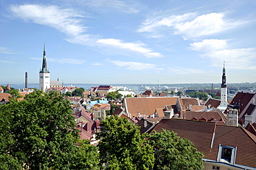 Panorama over the historic town centre, view from Castle Hill, towers of St. Nicholas Church and Town Hall, Baltic Sea port, Tallinn, formerly Reval, Estonia, Baltic States, Northern Europe