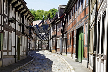 Half-timbered houses in the historic town centre, Goslar, Harz, Lower Saxony, Germany, Europe