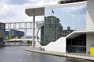 Marie-Elisabeth-Lueders-Haus building, river Spree at Schiffbauerdamm, Regierungsviertel government district, Berlin, Germany, Europe