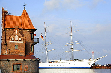 Port Authority and the Gorch Fock, a three-mast barque, in the port of Stralsund, November 2010, Stralsund, Mecklenburg-Western Pomerania, Germany, Europe