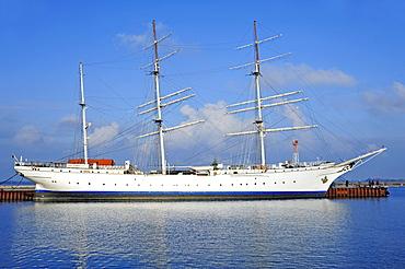 The Gorch Fock, a three-mast barque, in the port of Stralsund, November 2010, Stralsund, Mecklenburg-Western Pomerania, Germany, Europe