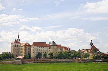 City view with Schloss Hartenfels castle, Marienkirche church and historic bridge part, Torgau, Landkreis Nordsachsen county, Saxony, Germany, Europe