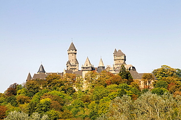 Braunfels castle as seen from the Taunus mountain range, medieval castle redesigned in baroque style, owned by the Solms-Braunfels family, Hesse, Germany, Europe