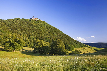 Burg Teck castle on a rocky spur on the Swabian Alb near Kirchheim, Baden-Wuerttemberg, Germany, Europe