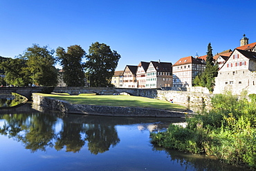 Old town on the Kocher river, Schwaebisch Hall, Hohenlohe, Baden-Wuerttemberg, Germany, Europe