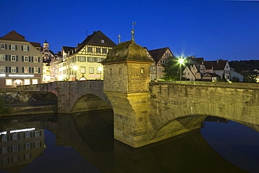 Henkersbruecke bridge in the old town of Schwaebisch Hall, Hohenlohe, Baden-Wuerttemberg, Germany, Europe