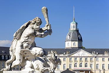 Sculpture in front of Schloss Karlsruhe castle, Karlsruhe, Baden-Wuerttemberg, Germany, Europe