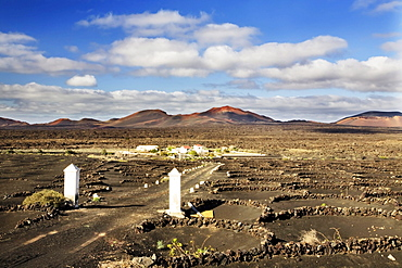 Entrance to a finca in the wine growing area of La Geria, Lanzarote, Canary Islands, Spain, Europe