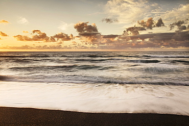 Sunset at the bay of El Golfo, Lanzarote, Canary Islands, Spain, Europe
