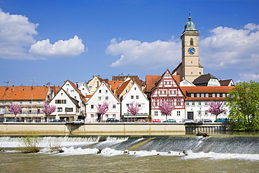 Nuertingen am Neckar, Neckar river with Stadtkirche Saint Laurentius, town church of St Lawrence, Baden-Wuerttemberg, Germany, Europe