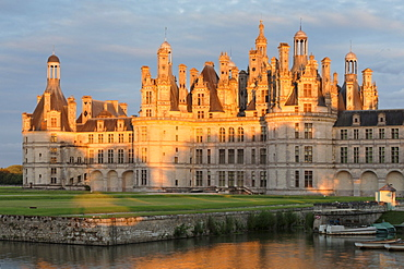 Chateau de Chambord, north facade with a moat, department of Loire et Cher, Centre region, France, Europe
