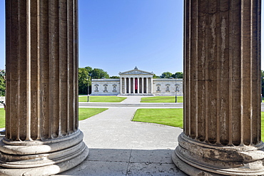 View from the State Collection of Antiquities towards the Glyptothek Museum on Koenigsplatz square, Munich, Upper Bavaria, Bavaria, Germany, Europe