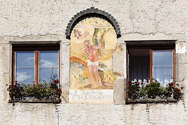Fresco on a facade, Schwallenbach near Spitz, Wachau, Waldviertel, Lower Austria, Austria, Europe