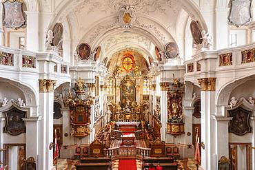 Abbey church, Duernstein, Wachau valley, Waldviertel region, Lower Austria, Austria, Europe