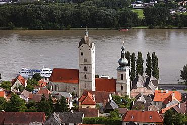 Steeples of Frauenbergkirche Church and St. Nicholas' Church, Stein an der Donau district, Wachau valley, Waldviertel region, Lower Austria, Austria, Europe