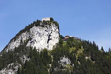 Falkenstein Castle and Burghotel auf Falkenstein, Pfronten, view from Vilstal valley in Austria, Ostallgaeu district, Allgaeu region, Swabia region, Bavaria, Germany, Europe