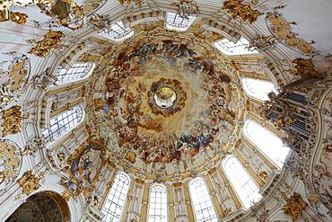 Ceiling fresco by Johann Jakob Zeiller, dome of the abbey church, Ettal Abbey, Upper Bavaria, Bavaria, Germany, Europe