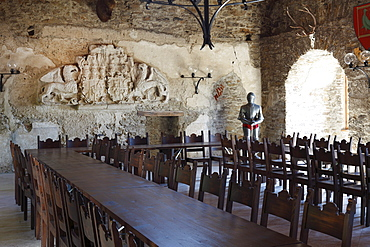 Knight's hall, Aggstein castle ruins, Dunkelsteinerwald, Wachau, Mostviertel quarter, Lower Austria, Austria, Europe