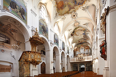 Basilica with pulpit and organ, Kloster Scheyern monastery, Hallertau, Holledau or Hollerdau, Upper Bavaria, Bavaria, Germany, Europe