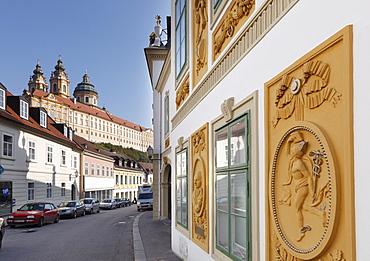 Alte Post old post office and Stift Melk Abbey, Melk, Wachau, Mostviertel district, Lower Austria, Austria, Europe