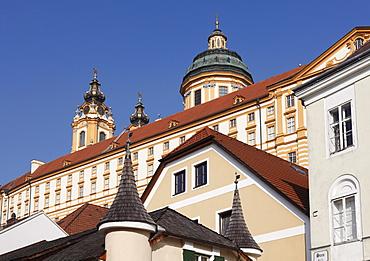 View from the town hall square on Stift Melk Abbey, Melk, Wachau, Mostviertel district, Lower Austria, Austria, Europe