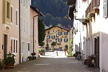 Florianiplatz square, Upper Town, historic district of Bad Reichenhall, Berchtesgadener Land district, Upper Bavaria, Germany, Europe