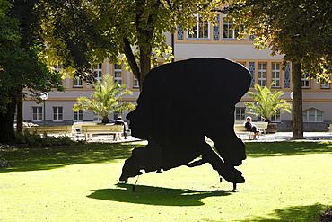 Mozarts Schatten, Mozart's Shadow, sculpture by Angerer the Younger, 2004, Bad Reichenhall spa gardens, Berchtesgadener Land district, Upper Bavaria, Germany, Europe