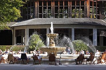 Salt works, graduation house and Alpine brine fountain, Bad Reichenhall spa gardens, Berchtesgadener Land district, Upper Bavaria, Germany, Europe