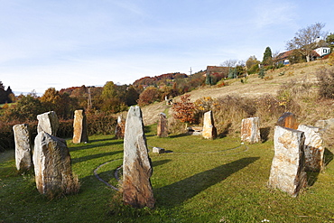 Stone circle, Celtic megalith replicas, Geyersberg, Bergen municipality in the Dunkelsteinerwald area, Wachau, Mostviertel region, Lower Austria, Austria, Europe