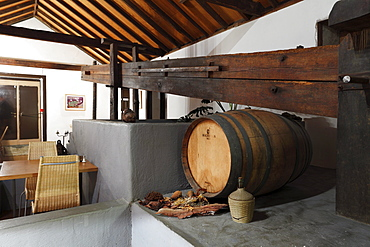 Restaurant with a wine press, Hotel Anaterve, Vallehermoso, La Gomera, Canary Islands, Spain, Europe