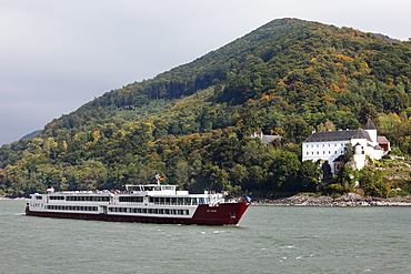 River cruise ship, My Story, in front of Servite Monastery of Schoenbuehel on the Danube, Wachau, Mostviertel, Most Quarter, Lower Austria, Austria, Europe