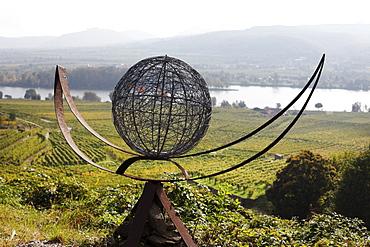 Sculpture wine ship by Fritz Gall at the wine sculpture trail at Mt. Loibenberg near Duernstein, Wachau, Waldviertel, Lower Austria, Austria, Europe