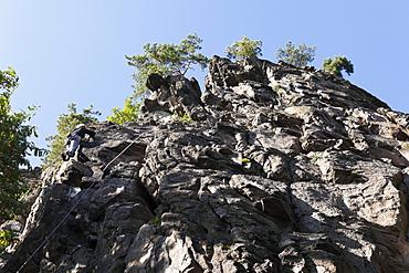 Climbing rock Achleitenwand for near Weissenkirchen in the Wachau, Waldviertel, Lower Austria, Austria, Europe