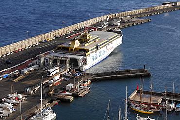 Benchijigua Express car ferry of Fred Olsen Cruise Lines in the port of San Sebastian de La Gomera, Canary Islands, Spain, Europe