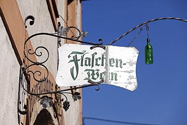 Sign, Flaschenwein or bottled wine, Winzerhaus wine merchant's house in Woesendorf in the Wachau, Waldviertel, Lower Austria, Austria, Europe